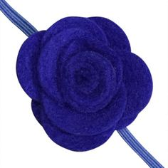FUN 3-D Felt Rose Skinny Elastic Headband. Perfect for newborn and baby, but can be sized for older girls. Royal blue