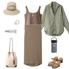 暑い時期は1枚でも着るものを減らしたいもの。「レイール」のカップ付きタンクトップは、そんな大人女性の願いを叶えてくれるアイテム。背中側が大きく開いたデザインで、涼しく着こなせます。日差し除けに「フランク&アイリーン」のシャツをゆるく羽織ったり、ウエスト部分に巻いても◎。アースカラーでコーデをまとめて、ナチュラルなサマースタイルを作りましょう。どれもベーシックなアイテムだから、秋物と組み合わせてスイッチシーズンにも活躍するし、次の夏にだってまだまだ現役! Today's Outfit, Polyvore, Outfits, Fashion, Moda, Suits, Fashion Styles, Fashion Illustrations, Kleding