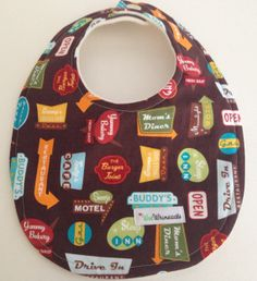 Retro Signs Bib Fleece Cotton Brown Multi Colors Good Eats