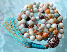 Blue Amazonite Hand Knotted Mala Beads Necklace - Energized Karma Nirvana Medita  | eBay