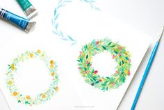 HOW TO MAKE WATERCOLOR FLOWER WREATHS