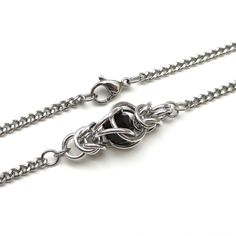 Black captive crystal chainmaille necklace - Tattooed and Chained Chainmaille - 4