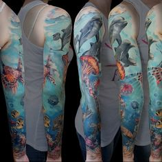 Ocean Leg Sleeve Tattoo
