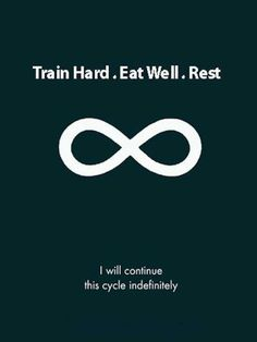 Train hard, eat well, rest, repeat. Make it your lifestyle.