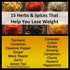Certain herbs and spices can help you maintain a healthy body weight by increasing your metabolism, shrinking fat tissue and suppressing your appetite. But don't rely on just this. Eating good food and exercising regularly is important too. Healthy Tips, Healthy Eating, Healthy Recipes, Healthy Food, Healthy Herbs, Detox Recipes, Yummy Recipes, Weight Loss Herbs, Herbs For Health