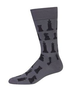 Hot Sox Chess Printed Socks Men's Dark Grey 10-13
