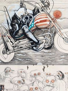 The Motorcyclist: Fear and Loathing!, by Ralph Steadman, 1971. Drawing; Mixed media on paper