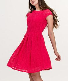Another great find on #zulily! Rose Red Eyelet Cap-Sleeve Dress - Women by Amelia #zulilyfinds