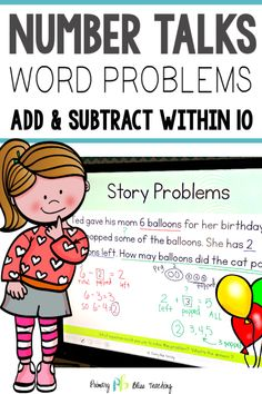 Number Talks - Word Problems {Add and Subtract) Classroom and Distance Learning First Grade Words, First Grade Lessons, Teaching First Grade, First Grade Teachers, First Grade Math, Math Lessons, Math Fact Practice, Math Fact Fluency, Number Talks
