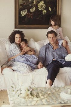 FAMILY IN PJs in bed portrait ///Andie MacDowell with Justin Qualley, Paul Qualley, and Rainey Qualley. http://www.vogue.com/slideshow/1020155/model-moms-kids-visual-history-vogue?mbid=social_onsite_pinterest&utm_content=bufferc3837&utm_medium=social&utm_source=pinterest.com&utm_campaign=buffer#3