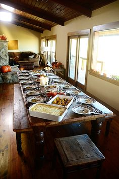 What my daughter's table looks like on Thanksgiving and other holidays.