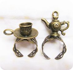 Loving Rings, Teapot and Cup  adjustable Ring. $5.50, via Etsy.