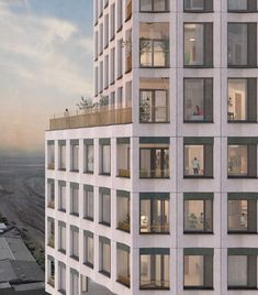 Terrace transition between mid-levels and building crown, Southall Tower, Gort Scott Architects