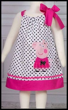 """""""Best Images about Peppa Pig Birthday Party"""", """"NEW Super Cute Posh Peppa Pig applique von LilBitofWhimsyC Toddler Dress, Baby Dress, Dot Dress, Toddler Girl, Casual Dress Outfits, Kids Outfits, Fashion Kids, Peppa Pig Dress, Peppa Pig Clothes"""