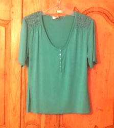t-shirt turquoise buttons in front and beads on each shoulder Bambou® viscose - all natural, regenerable and gentle on the skin elasthan sizes 2 and Fashion Online, V Neck, How To Make, T Shirt, Shopping, Tops, Women, Style, Supreme T Shirt