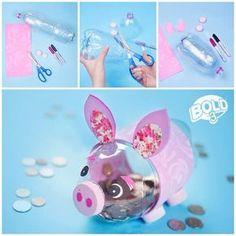 DIY Piggy bank with plastic bottles Kids Crafts, Diy And Crafts, Craft Projects, Arts And Crafts, Paper Crafts, Recycled Crafts Kids, Plastic Bottle Crafts, Soda Bottle Crafts, Plastic Bottles