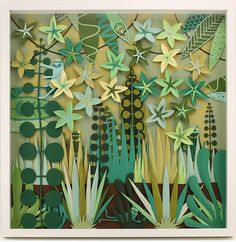 leaf collage scene by paper-cutting artist jared schorr Paper Leaves, Paper Flowers, Jungle Art, Paper Plants, Henri Rousseau, Ecole Art, Idee Diy, Thinking Day, Paper Cutting