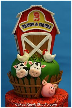 Farm barn yard cake