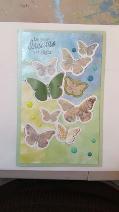 Spellbinders Cascading butterflies  and pearlescent watercolours.