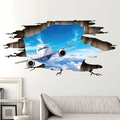 Miico Creative Sky Flying Plane Broken Wall Removable Home Room Decorative Wall Door Decor Sticker Floor Stickers, Wall Stickers Home Decor, Wall Decor, Room Decor, 3d Wall Art, Wall Murals, Break Wall, Home Decor Online, Dream Home Design