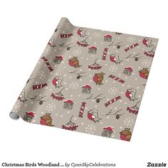 Christmas Birds Woodland 'Home For The Holidays' Wrapping Paper @zazzle