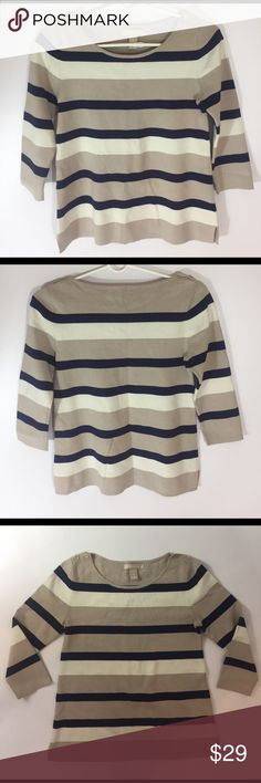 NWOT Banana Republic Knit Top Striped So cute and perfect dressed up or down! New without tags. Color navy,beige,white. 3/4 sleeve. 68% viscose 17% nylon 12% polyester 3% spandex. Size small. Banana Republic Tops Tees - Long Sleeve