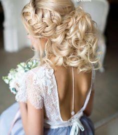 Elstile braided messy wedding hairstyle for long hair - Deer Pearl Flowers / http://www.deerpearlflowers.com/wedding-hairstyle-inspiration/elstile-braided-messy-wedding-hairstyle-for-long-hair/