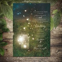 Enchanted Forest Invitation, Mason Jar Fireflies Wedding Invitation, Rustic Wedding Invitation, Garden Fairy Lights Wedding Invitation, Spring Summer Field Wedding Invitation, Storybook Wedding Invitation by Soumya's Invitations