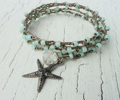 Starfish Crochet Bracelet Necklace, Aqua Mint Opal Crochet Wrap, Beach Jewelry, Beach Chic, Starfish Necklace, Starfish Jewelry, Boho on Etsy, $36.00
