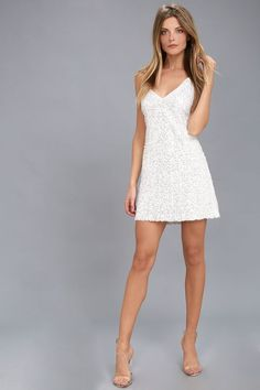Force of Fashion White Backless Sequin Mini Dress 623c843c7