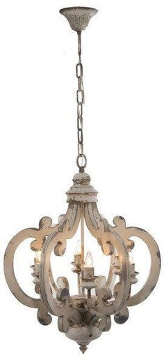 Distressed Painted Chandelier White 6 Light French Country Lighting Shabby Chic Farmhouse