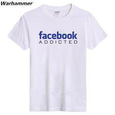 a5ebaa796 Warhammer Drop Ship Men T shirts Fashion 2017 Letter Print Facebook  Addicted Fan Summer O-