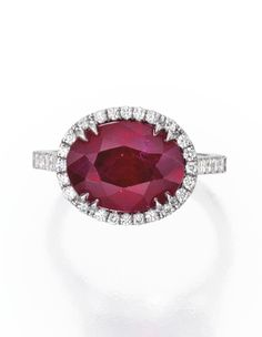 18 Karat White Gold, Ruby and Diamond Ring   lot   Sotheby's