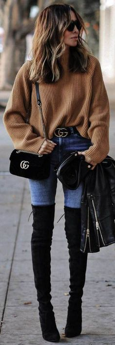 Over The Knee Boots / Fall street style fashion / #boots #fallfashion #fashion #womensfashion #streetstyle #ootd #style / Pinterest: @fromluxewithlove Cropped Sweater Outfit, Brown Sweater, Sweater Outfits, Velvet Sweater, Boot Outfits, Skirt Outfits, Over Knee Boots, Over The Knee Boot Outfit, Leather Over The Knee Boots