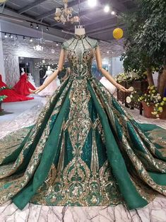 Promo Vintage Saudi Arabia Dark Green Wedding Dresses 2019 New Luxury Gold Lace Beads Elegant High Neck Muslim Bridal Ball Gown 2020 Arabic Wedding Dresses, Green Wedding Dresses, Wedding Gowns, Green Evening Dress, Evening Dresses, Green Gown, Pretty Outfits, Pretty Dresses, Ball Dresses