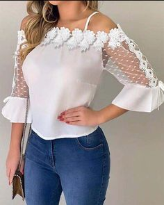 Lace Applique Cold Shoulder Blouse - Just Shop Trend Fashion, Look Fashion, Womens Fashion, Fashion Styles, Cold Shoulder Blouse, Shoulder Tops, Shoulder Sleeve, Looks Chic, Lace Applique