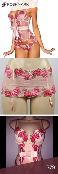 NWT Victoria Secret EMBROIDERED ROSE BUSTIER THONG Victoria's Secret Very Sexy diamond floral embroidered Roses bustier/corset PLUS Matching Garter Belt & Built in Thong!! 36D & Large!  Satin bow, rhinestones, embroidered floral design. Front/back boning, elastic crisscrossing back adds a very sexy detail! Beautifully delicate mesh on sides. Very sexy and feminine. 36D Victoria's Secret Intimates & Sleepwear