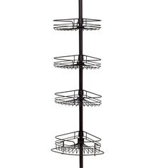 Zenith H Steel Bronze Tension Pole Freestanding Shower Caddy at Lowe's. 4 adjustable shelves provide plenty of bath item storage in corner of tub or shower?Also includes built-in razor storage, hooks and a towel bar for Bathroom Corner Shelf, Corner Shower Caddy, Bathroom Storage, Shower Caddies, Bathroom Ideas, Small Bathroom, Bathrooms, Bathroom Rack, Bathroom Organization