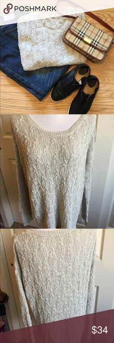 free people sweater S outfit deal Light gray sweater free People size S-M Excellent clean condition Take this whole outfit pants closed, shoes frye, bag Burberry. $180 everything shown Free People Sweaters