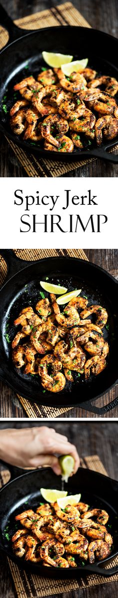 Beautifully seared plump & juicy shrimp marinated in an easy to make jerk marinade that is super flavorful with a hot kick.