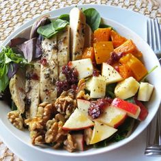 Fall has never tasted so delicious. Herbed chicken, apples, squash and walnuts are all dressed in a cranberry vinaigrette.