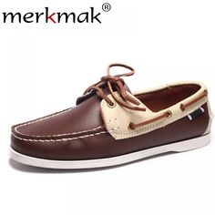 c2af29b7 Merkmak primavera sólida de barco de los hombres calzado de moda de cuero  genuino mocasines Slip