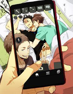 iwaizumi, oikawa, hanamaki, matsukawa, training camp, sleeping iwaoi,  http://hisamei.tumblr.com/post/100697679047/m-same, https://twitter.com/m_same_/status/514116866353004545, http://www.pixiv.net/member_illust.php?mode=manga&illust_id=46642652