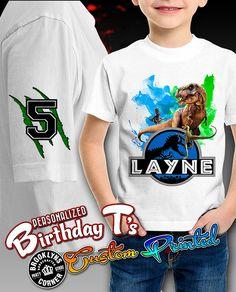 Jurassic World Shirt - Personalized Shirt - Birthday Party Shirt - Custom Shirt Birthday Party At Park, Twin Birthday, Dinosaur Birthday Party, Birthday Shirts, Birthday Ideas, Dinosaur Cake, Birthday Parties, Jurassic World Shirt, Jurassic Park Party