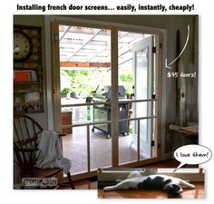 Installing screen doors on french doors... easy and cheap! via Funky Junk Interiors....so want to do this at my house.