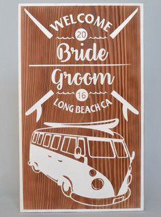 サーファーの憧れの車、サーフボードを積んだワーゲンのタイプ2をメインに添えた、サーフショップの看板をイメージした作品。 #ハワイ #サーフィン #カリフォルニア #ワーゲン #ウェルカムボード #wood  #sign #wedding #california #surfing
