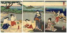 Genji on the beach in Ise watching abalone divers by Kunisada (1860)