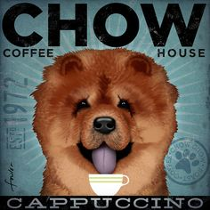 Chow Chow dog Coffee Company graphic art por geministudio en Etsy