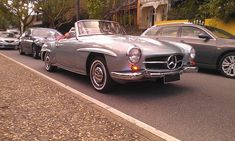 Picture of a Mercedes Benz #190SL caught in the mild autumn sun amid the congested Saturday morning Melbourne traffic. (By Don Andreina). Source: http://www.curbsideclassic.com/curbside-classics-european/curbside-classic-mercedes-benz-w121-190sl/. For all your Mercedes Benz 190SL restoration needs please visit us http://www.bruceadams190sl.com.