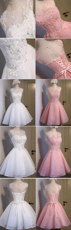 Lovely Pink Appliques Beads Sequins Sleeveless Outfit Lace Up Back Organza Homecoming Prom Dress Short Homecoming Dress 71713 Grad Dresses, Homecoming Dresses, Short Dresses, Formal Dresses, Wedding Dresses, Pretty Dresses, Beautiful Dresses, Sleeveless Outfit, Satin Skirt